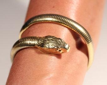 Mid Century Snake Bracelet Gold Tone Bracelet large Head Wrap Bracelet Vintage Bracelet VTG Bracelet French Bracelet