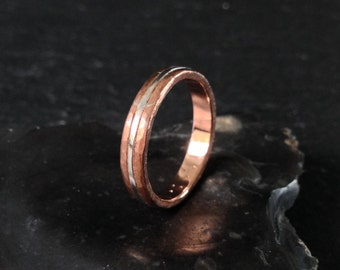 Sterling Silver Line Ring  - Copper