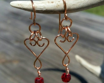Copper Swirl Hearts with Red Crystals Dangle