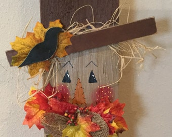 Fall Scarecrow Sign Upcycled Wood Shingle Holiday Sign Handmade Wall Door Hanger Country Housewarming Gift  Country Decor Fall Sign  Holiday