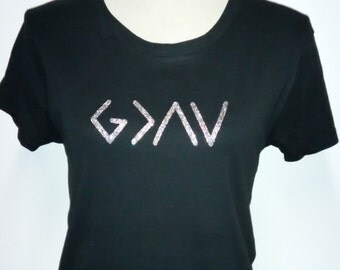 God is Greater than the Highs and Lows - Religious T-shirts - Glitter Vinyl Tees - Religious T-shirt - Religious Tees - Spiritual Tees