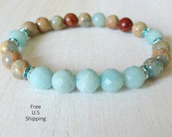 Calming, Amazonite, Aqua Terra Jasper, Yoga bracelet, Energy bracelet, Yoga mala, Reiki, wrist mala, Meditation bracelet, calming