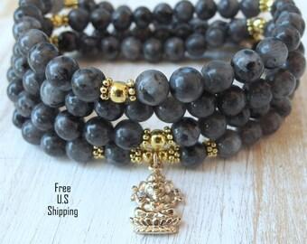 Ganesha, 108 mala, black moonstone, Mala Bracelet or Necklace,Reiki charged, Buddhist Rosary,Prayer beads, Gemstone, wrist mala, moonstone
