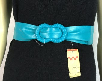 Vintage Belt 80s Faux Leather Turquoise Blue Deadstock NWT medium to large
