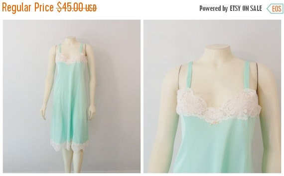 CLOTHING SALE Vintage Slip 60s Mad Men Deadstock The Royal Boudior Collection of Aristocraft NWT Seafoam Mint Green sz 36 Modern M