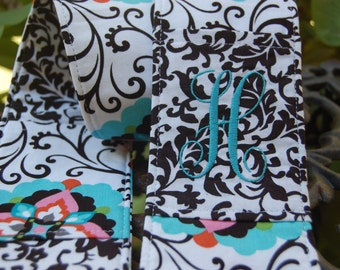Camera Strap Cover,monogramed sleeve, Monogrammed SLR or DSLR-2 pockets, padding, floral and black and white scroll