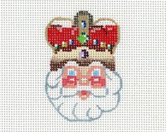 Hand Painted Needlepoint Santa Ornament - Crown Jewel Santa