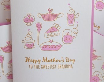 Mother's Day card for Grandma - Sweet Card for Grandma Card - Letterpress card for Grandma. Grandmother Mother's Day card
