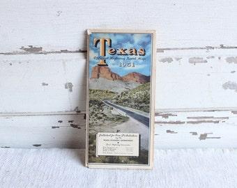 Vintage Texas 1951 Highway Travel Paper Road Map