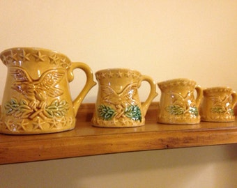 Harvest Gold Ceramic Measuring Cups with Eagles. Mid Century