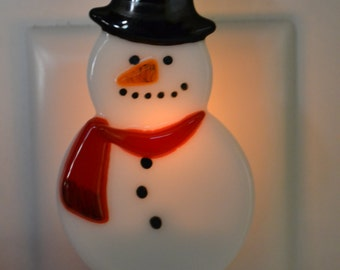 Snowman with Red Scarf Fused Glass Night Light