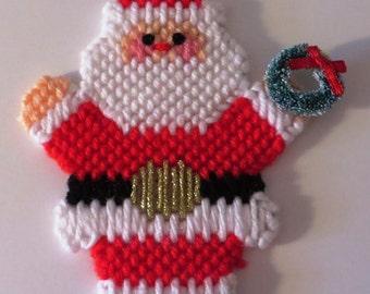 Needlepoint waving Santa ornament