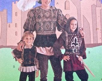 "McCalls Costume Pattern No 8450 UNCUT Vintage 1990s Size Mens Medium 38"" 40"" Medieval Renaissance Doublet Tabard Shirt Hood Leggings Hat"