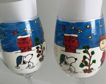 decorative charlie brown christmas peanuts gang inspired  linus lucy snoopy woodstock hand painted wine glass cups mug