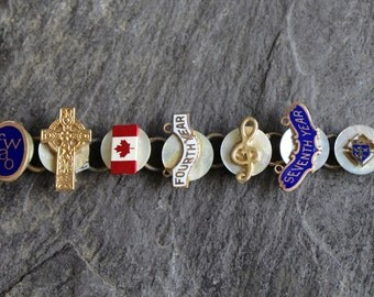 Merit Pin Bracelet, Good Energy bracelet, vintage, antique service pins, recycled, repurposed jewelry lapel pins up cycled
