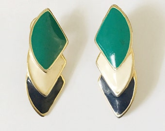 Nice Turquoise,Blue and Creme Color Block Pierced Earrings