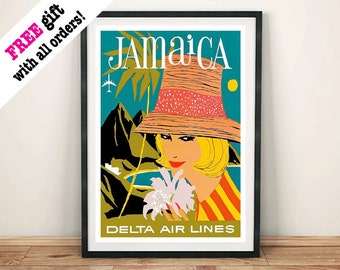 JAMAICA POSTER: Vintage Airline Travel Advert, Lady in Hat Art Print Wall Hanging