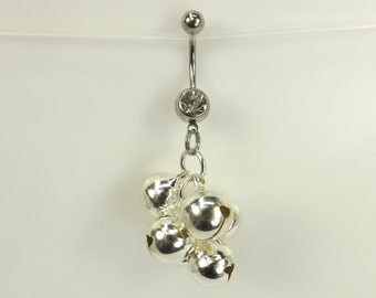 Dangle Belly Ring navel ring with bells belly button jewelry body jewelry curved barbell navel ring