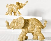 Gold Glitter Elephants Wedding Cake Topper Keepsake, Safari Baby Shower Decoration, Jungle Nursery Decor, Boy Girl Circus Birthdays Set of 2