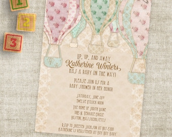 Hot Air Balloon Baby Shower Inivtation for Baby Boy or Baby Girl Digital Printable File with Professional Printing Option
