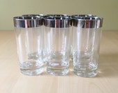 Mid Century Silver Rimmed Tumblers/Highball Drinking Glasses Vintage Barware Set of 6