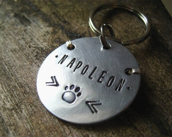 Large Pet Id Tag - Aluminum Pet Id Tag - XL Tag - Lightweight Large Dog Tag - Hand stamped - Unique Pet id Tag -
