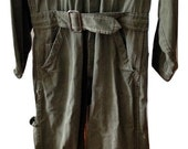 Vtg Trucker Farmer Denim Wear Well Coverall Sanforized Distressed Workwear Herringbone