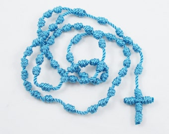 Knotted Cord Rosary, Vibrant Blue - Hospital Safe and Great for Small Children, Baptism, First Communion, Christmas Gift - Hand Dyed