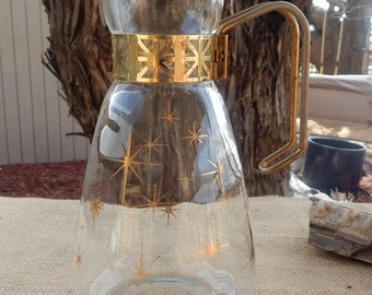 Brass and Glass Decanter  ~  Brass and Glass Carafe  ~  1960's Atomic Era Decanter  ~  1960's Atomic Era Carafe