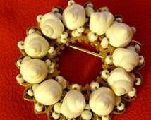 Miriam Haskell Mini Shell Pin Brooch  Filigree Excellent Work