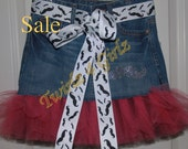 SALE - Size 12 Ready to Ship - Denim Tutu Skirt with rhinestone mustache applique and mustache ribbon