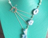 Blue Druzy & Aquamarine Adrienne Adelle Signature Necklace - Natural Druzy Quartz and Aquamarine - Asymmetrical Gemstone Statement Necklace