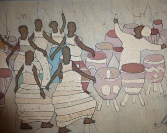 African cloth painting mounted on board, soft muted water colours, beige background, dancing women.