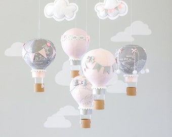 Hot Air Balloon, Baby Mobile, Travel Theme Nursery, Nursery Decor, Heirloom Baby Gift, Pink and Grey, i214