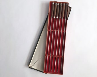 Mid Century Modern Teak and Stainless Steel Hibachi / Fondue Skewer Set w/ Box - hors d'oeuvres - Appetizer - Japan - Set of 6