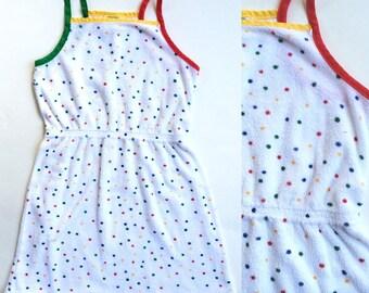 Vintage Retro 1980s terrycloth Rainbow Dot Dress 6X little Girls