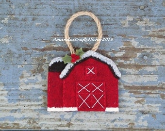 Rustic Red Barn Ornament