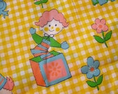 Vintage 60s Yellow Ginham Childrens Toy Print Cotton Blend Fabric Remnant 3yds