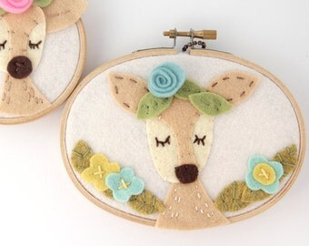 Kids Deer Art, Boho Nursery, Kids Wall Art, Woodland Animal, Meditating Doe, Gift for Baby, Embroidery Hoop Art, Felt Flowers