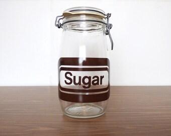 Retro Sugar Jar Typography Glass 1.5L Food Retro Typography 1980s