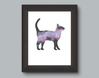 Cat Nebula Space Watercolor Art Print, Pet Cat Lover Wall Decor, Space Print, Purple Black Stars,  Art Geek Nerd Art