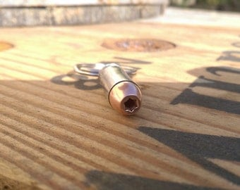 40 Caliber Hollow Point Bullet Key Chain-Nickel Cased- Won't Patina or Tarnish!