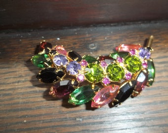 Very Colorful Rhinestone Leaf Brooch