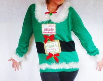 ELF Ugly Christmas Sweater. Light Up. Buddy the Elf. Tacky X-mas Sweater. Will Ferrell Funny. OOAK. Cool. Green Winner  - Size S M L