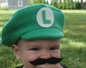 Infant or Toddler Luigi Hat with mustache