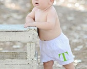 Monogrammed Baby Boy Boxer Shorts. Baby Bloomers for Boys. Cute Diaper Cover with Initial Monogram.