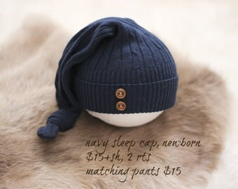 ready to ship, premmie photography prop, upcycled navy blue sleep hat with buttons, newborn baby boy prop, newborn boy sleep cap