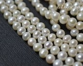 Large Hole pearl 6.2-6.5mm genuine natural Round Potato pearl, Freshwater Pearl Necklace pearl White Loose bead earrings Full Strand PL2301