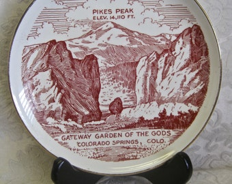 """Colorado State Plate Mid Century Souvenir Collectible 7"""" with Black Wood PLATE STAND Retro Decor Rocky Mountain High"""