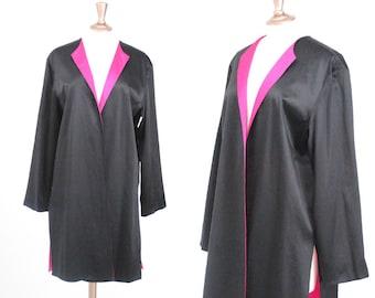 Vintage Reversible Black and Pink Silk Robe Jacket/ Large